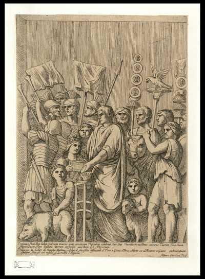 Traianus Pont. Max. habitu pateram tenens ante accensam Tripodem celebrat suo oue taurilia in uictimas coesurus Taurum Joui ... / Matteo Piccioni Fecit