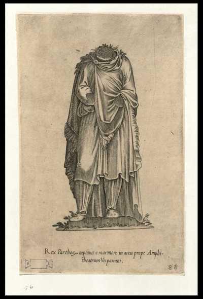Rex Parthorum captivus e marmore in arcu prope Amphitheatrum Vespasiani / [Jacopo Ruffoni]