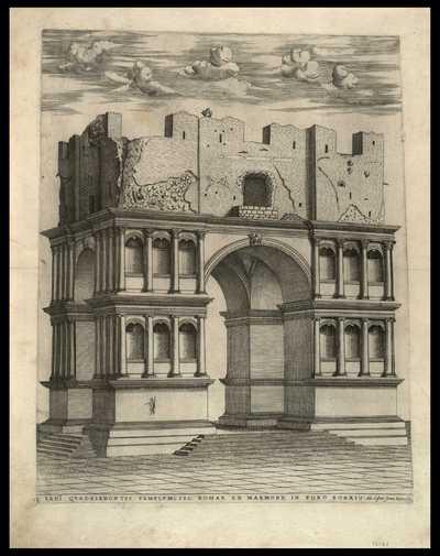 Iani Quadrifrontis templum: sic Romae ex marmore in Foro Boario