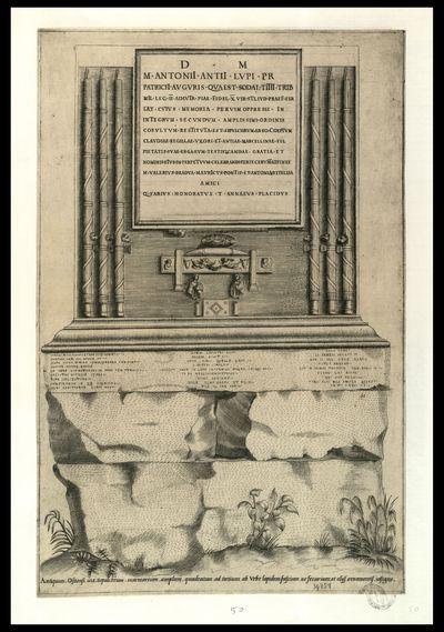 Antiquum, Ostiensi via, sepulchrum marmoreum, amplum, quadratum ad tertium ab vrbe lapidem fascium ac securium, et alijs ornamentis, insigne
