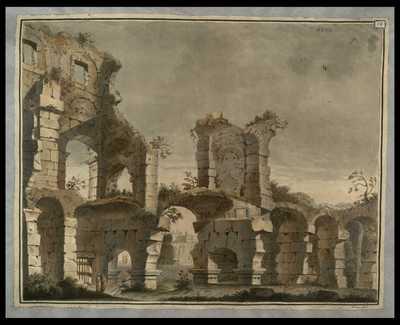 [Colosseo : interno, particolare di alcune arcate]