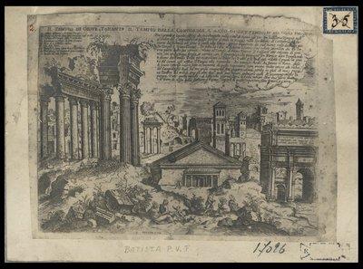 Il tempio di Giove Tonante, il tempio della Concordia, l'arco di Settimio, et del colle Palatino / Batista P. V. F