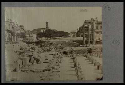 [Veduta generale dell'area centrale e orientale del Foro Romano ripresa dalla via del Campidoglio]