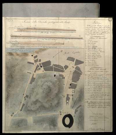 [Studio del terreno e della disposizione delle chiaviche nelle vicinanze dei monti Palatino, Aventino, Capitolino, Esquilino e Celio] / G. Valadier ...