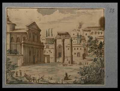 [Veduta del Foro Romano con i resti del tempio di Castore e Polluce e la chiesa di S. Maria Liberatrice]