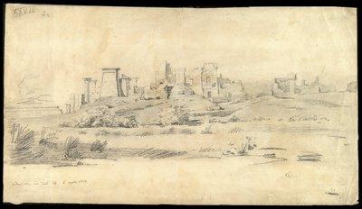 Medinet Habu veduta dall'esterno 6 agosto [1829]