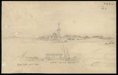 Rosetta, minareto della moschea di Muhammad el-Abbasi e veduta della stessa moschea dal Nilo , Serrabadek (?) , Veduta dalla parte destra, canal du nil a son enboscoura (sic) ,