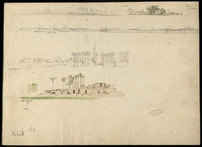 Varie vedute di villaggi sul Nilo del Basso Egitto , Gianna ... Déne a destra ... Abuljani