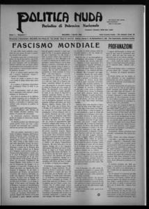 Politica nuda : periodico di polemica nazionale (1925:A. 1, apr., 1, fasc. 7)