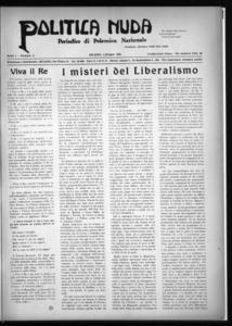 Politica nuda : periodico di polemica nazionale (1925:A. 1, giu., 1, fasc. 11)