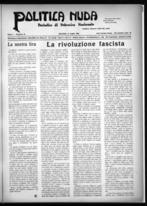 Politica nuda : periodico di polemica nazionale (1925:A. 1, lug., 15, fasc. 14)