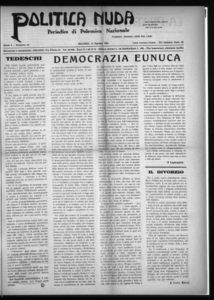 Politica nuda : periodico di polemica nazionale (1925:A. 1, ago., 15, fasc. 16)