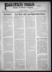 Politica nuda : periodico di polemica nazionale (1925:A. 1, set., 15, fasc. 18)