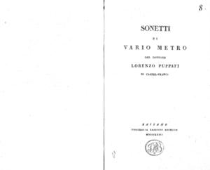 Sonetti di vario metro del dottore Lorenzo Puppati di Castel-Franco