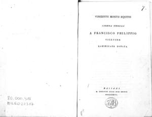 Vincentii Montii equitis Carmina nonnulla a Francisco Philippio vicentino latinitate donata
