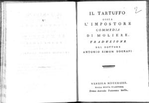 6.[2]: Il tartuffo ossia L'impostore commedia di Moliere. Traduzione del dottore Antonio Simon Sografi