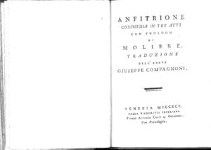 18.[2]: Anfitrione commedia in tre atti con prologo di Moliere. Traduzione dell'abate Giuseppe Compagnoni
