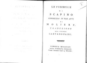 21.[2]: Le furberie di Scapino commedia in tre atti di Moliere. Traduzione del signor Gaetano Faini
