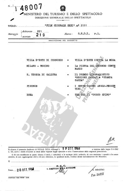 Film Giornale Sedi N. 2111                                  Villa d'Este di Cernobio: Villa d'Este ospita la moda.