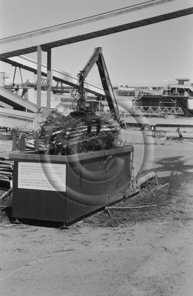 Osapuun tuoretiheyden mittausta veteen upottamalla. Pienpuuta siirretään nosturilla puutavara-auton kuormasta upotusaltaaseen tehdasalueella.