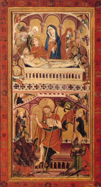 Altarflügel, VS.: Grablegung Christi, Auferstehung; RS.:  RS.: Gefangennahme Christi, Christus vor dem Hohepriester