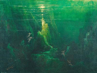 Das Rheingold, 1. Szene, Auf dem Grunde des Rheines (Entwurf für die Ring-Aufführung in Bayreuth 1896)