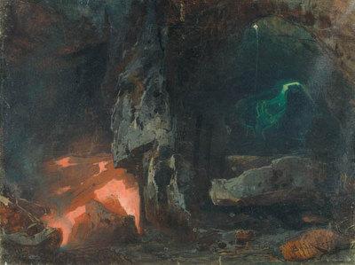 Das Rheingold, 3. Szene: Die unterirdischen Klüfte Nibelheims (Entwurf für die Ring-Aufführung in Bayreuth 1896)