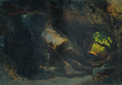 Szenenbild Siegfried, 1.  Akt: Eine Felsenhöhle im Walde (Entwurf für die Ring-Aufführung in Bayreuth 1896)
