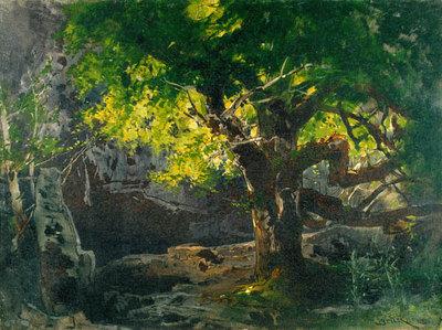 Szenenbild Siegfried, 2. Akt, 2. Szene: Tiefer Wald (Entwurf für die Ring-Aufführung in Bayreuth 1896)