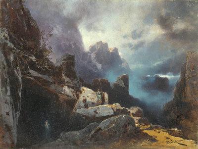 Szenenbild Siegfried, 3. Akt: Wilde Gegend, am Fuße eines Felsenberges (Entwurf für die Ring-Aufführung in Bayreuth 1896)