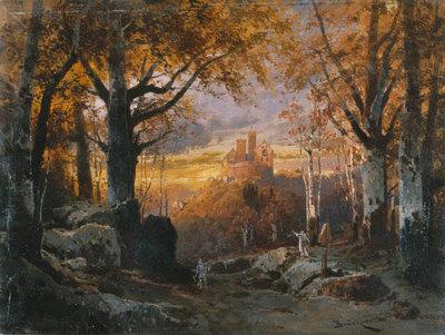 Szenenbild zur Oper Tannhäuser: 3. Akt: Wolfram von Eschenbach und Elisabeth im Wartburgtal (Frühlingsstimmung)