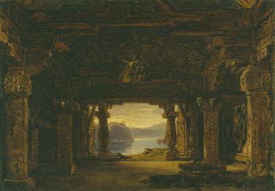 Szenenbild Götterdämmerung, 1. Akt, 1. und 2. Szene: Die Halle der Gibichungen am Rhein (Entwurf für die Ring-Aufführung in Bayreuth 1896)