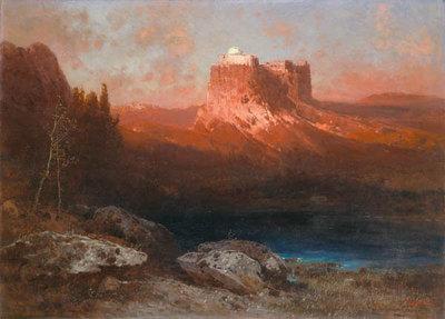 Gralsburg auf dem Berg Monsalvat. Motiv aus der Oper Parsifal