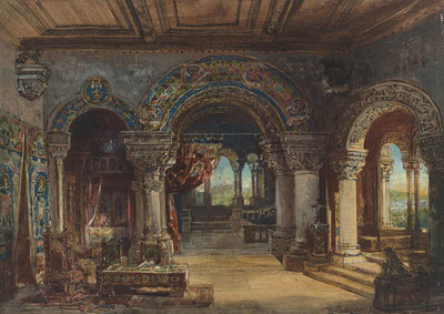 Szenenbild Burggraf von Nürnberg, 3. Aufzug: Empfangsgemach in der kurfürstlichen Pfalz zu Mainz