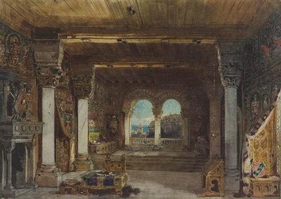 Szenenbild Burggraf von Nürnberg, 1. Aufzug: Romanisches Gemach auf der Burg zu Nürnberg