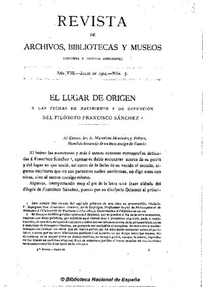 El lugar de origen y las fechas de nacimiento y defunción del filósofo Francisco Sánchez