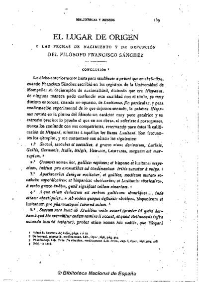 El lugar de origen y las fechas de nacimiento y defunción del filósofo Francisco Sánchez : Conclusión
