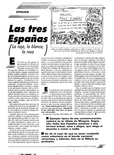 Las tres Españas : La última obra del P. Francisco Segarra