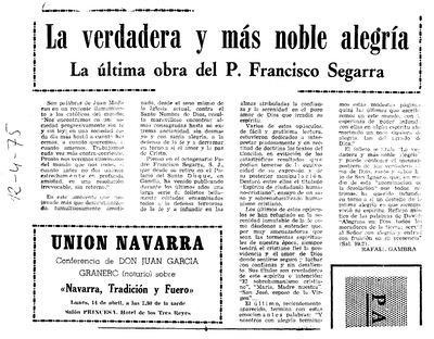La verdadera y más noble alegría : La última obra del P. Francisco Segarra