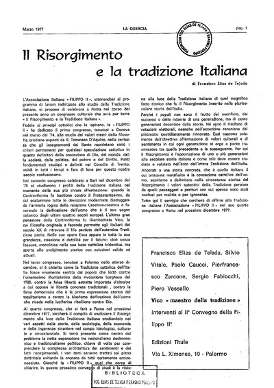 Il risorgimento e la tradizione italiana