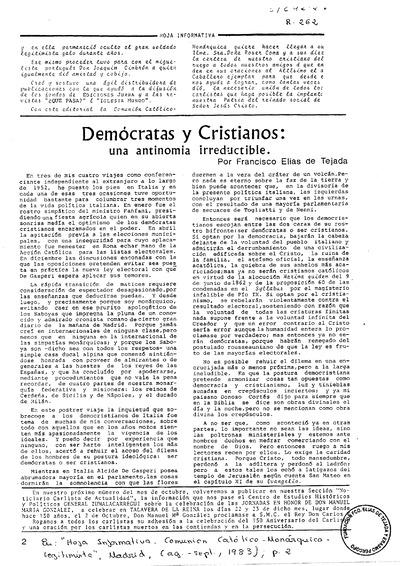 Demócratas y cristianos : una antinomía irreductible