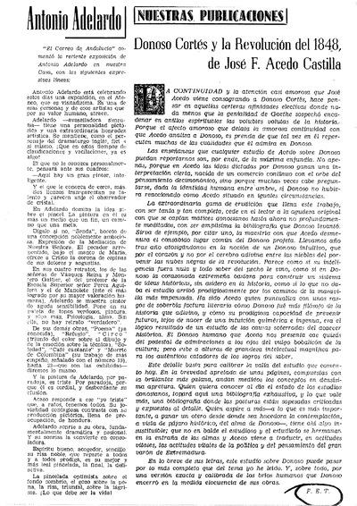 [Reseña a José F. Acedo Castilla. Donoso Cortés y la Revolución de 1848]
