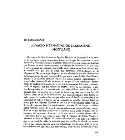 In memoriam. Ignacio Hernando de Larramendi Montiano