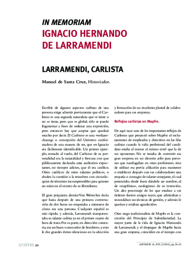 In memoriam Ignacio Hernando de Larramendi . Larramendi, carlista