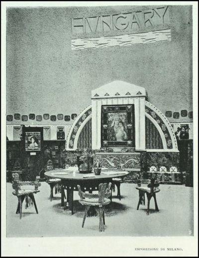 Interno del Padiglione Arte decorativa ungherese dell'Esposizione di Milano