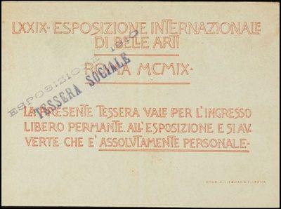 Tessera della LXXIX Esposizione Internazionale di Belle Arti in Roma di Petrucci