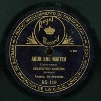 Agur ene maitea  [Grabación sonora]  : canto vasco. Ume eder bat : canto vasco / J. Santesteban