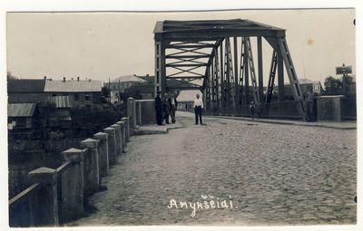 Anykščiai. Antano Baranausko tiltas per Šventąją