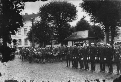 Klaipėda. Prancūzų karinės įgulos paradas Aleksandro (dabar Liepų) gatvėje