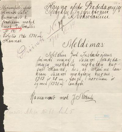 J. Norkaitės  prašymas MELDIMAS